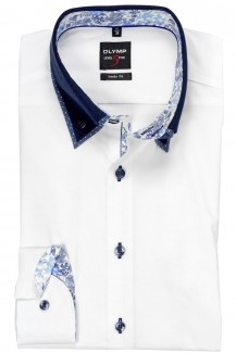 OLYMP Level Five body fit Hemd 69er-Arm Doppelkragen Button-Down weiß