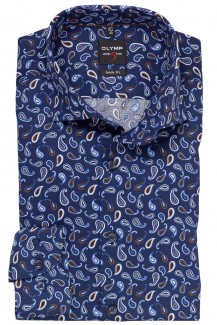 OLYMP Level Five body fit Hemd 69er-Arm Royal Kent Paisley marine-nougat
