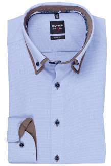 OLYMP Level Five body fit Hemd Doppelkragen Button-Down Struktur bleu