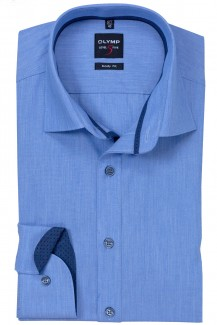 OLYMP Level Five body fit Hemd New York Kent Chambray in bleu