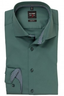 OLYMP Level Five body fit Hemd Royal Kent Chambray grün