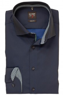 OLYMP Level Five body fit Hemd Royal Kent Chambray marineblau
