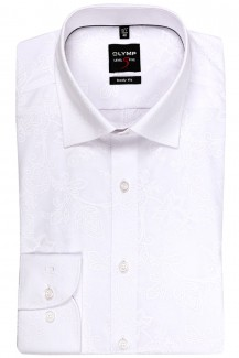 OLYMP Level Five body fit Hemd Under Button-Down Barock Muster weiß