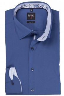 OLYMP Level Five body fit Hemd Under Button-Down Blüten Patch stahlblau