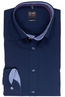 OLYMP Level Five body fit Hemd Under Button-Down Diamant Patch marine