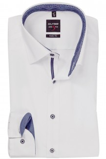 OLYMP Level Five body fit Hemd Under Button-Down marine Kettenmuster Patch weiß