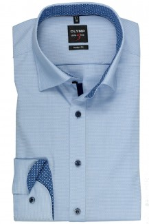 OLYMP Level Five body fit Hemd 69er-Arm Under Button-Down Molekül Patch bleu