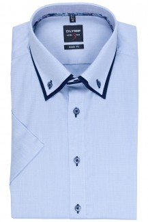 OLYMP Level Five body fit Kurzarm Hemd Doppelkragen Button-Down bleu