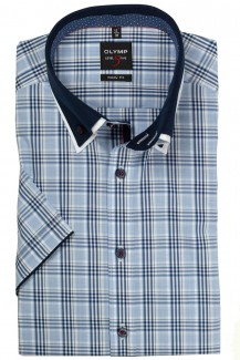 OLYMP Level Five body fit Kurzarm Hemd Doppelkragen Button-Down Karo bleu-marine
