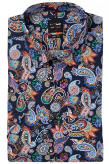 OLYMP Level Five body fit Kurzarm Hemd New York Kent Paisley orange-marine