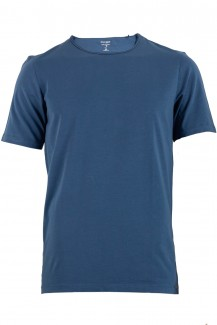 OLYMP Level Five body fit T-Shirt Rundhals mit Rollkante am Kragen indigo