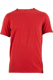 OLYMP Level Five body fit T-Shirt Rundhals mit Rollkante am Kragen rot