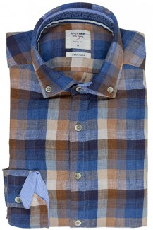 OLYMP Level Five Casual body fit Hemd Button-Down Leinen Karo caramel-braun