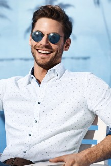 OLYMP Level Five Casual body fit Hemd Under Button-Down Tupfen weiß-royal