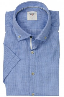 OLYMP Level Five Casual body fit Kurzarm Hemd Button-Down strukturiert bleu-royal