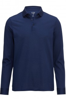 OLYMP Level Five Polo Langarm body fit Jacquard marine