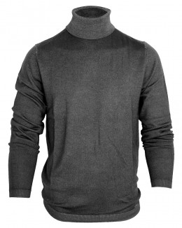 OLYMP Level Five Strick body fit Pullover Rollkragen fast dyed anthrazit