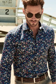 OLYMP Level Five smart business body fit Hemd 69er-Arm Kent floral Dessin marine-gelb