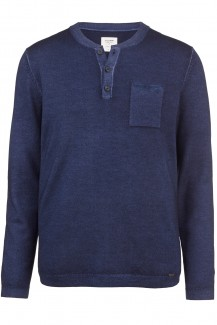 OLYMP Level Five Strick body fit Henley fast dyed marine