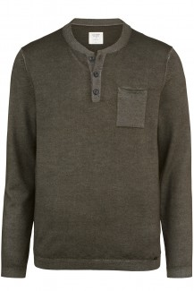OLYMP Level Five Strick body fit Henley fast dyed oliv