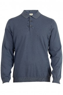 OLYMP Level Five Strick body fit Pullover Polo-Kragen indigo