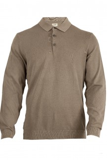 OLYMP Level Five Strick body fit Pullover Polo-Kragen schlamm