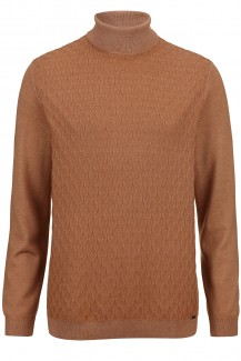 OLYMP Level Five Strick body fit Pullover Rollkragen Struktur camel