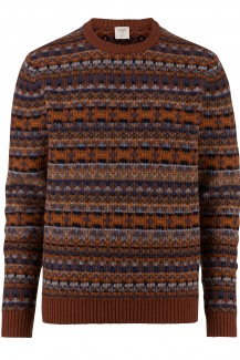 OLYMP Level Five Strick body fit Pullover Rundhals Jacquard camel-marine