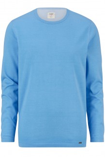 OLYMP Level Five Strick body fit Pullover Rundhals Plated bleu