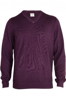 OLYMP Level Five Strick body fit Pullover V-Ausschnitt fast dyed chianti