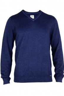 OLYMP Level Five Strick body fit Pullover V-Ausschnitt fast dyed marine