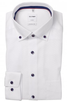 OLYMP Luxor comfort fit Hemd 69er-Arm Button-Down Fein Oxford weiß