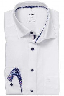 OLYMP Luxor comfort fit Hemd Under Button-Down Paisley Patch weiß