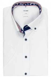 OLYMP Luxor comfort fit Kurzarm Hemd Button-Down Fein Oxford weiß
