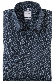 OLYMP Luxor comfort fit Kurzarm Hemd Under Button-Down Blütezeit marine-sky