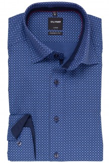 OLYMP Luxor modern fit Hemd 69er-Arm Under Button-Down Mini Kreise indigo-weiß