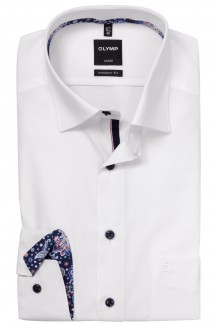 OLYMP Luxor modern fit Hemd 69er-Arm Under Button-Down Paisley Patch weiß