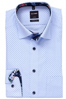 OLYMP Luxor modern fit Hemd 69er-Arm Under Button-Down Punkte bleu-marine