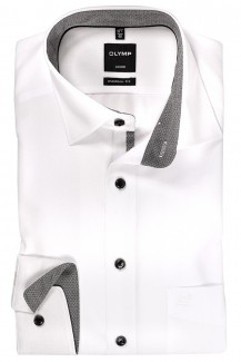 OLYMP Luxor modern fit Hemd 69er-Arm Under Button-Down silber Rauten Patch weiß