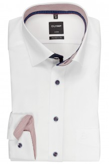 OLYMP Luxor modern fit Hemd 69er-Arm Under Button-Down Streifen Patch weiß