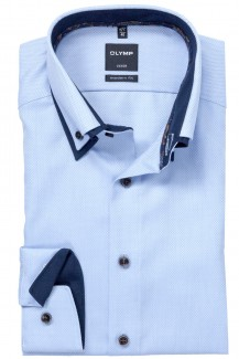 OLYMP Luxor modern fit Hemd Doppelkragen Button-Down Patch bleu