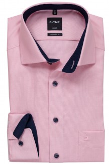 OLYMP Luxor modern fit Hemd Global Kent Natté marine Patch rose