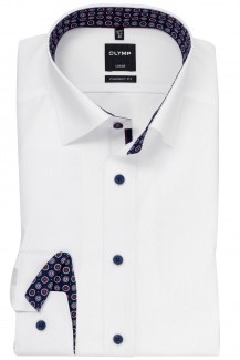 OLYMP Luxor modern fit Hemd Under Button-Down Blütenkreise Patch weiß