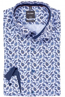 OLYMP Luxor modern fit Hemd Under Button-Down Paisley Muster nougat-jeansblau