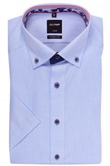 OLYMP Luxor modern fit Kurzarm Hemd Button-Down Fein Oxford bleu