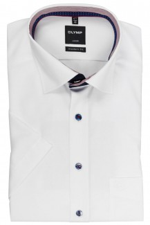 OLYMP Luxor modern fit Kurzarm Hemd Under Button-Down Streifen Patch weiß