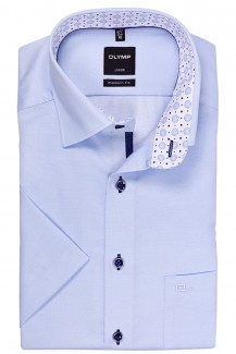 OLYMP Luxor modern fit Kurzarm Hemd Under Button-Down Struktur bleu
