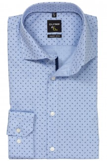 OLYMP No. Six super slim Hemd 69er-Arm Royal Kent Mini Paisley bleu-marine