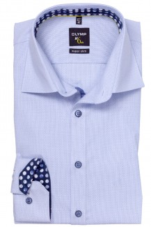 OLYMP No. Six super slim Hemd 69er-Arm Under Button-Down Kreise Patch hellblau