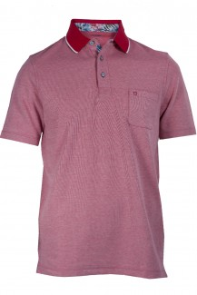 OLYMP Polo modern fit Pique Blüten Patch rot